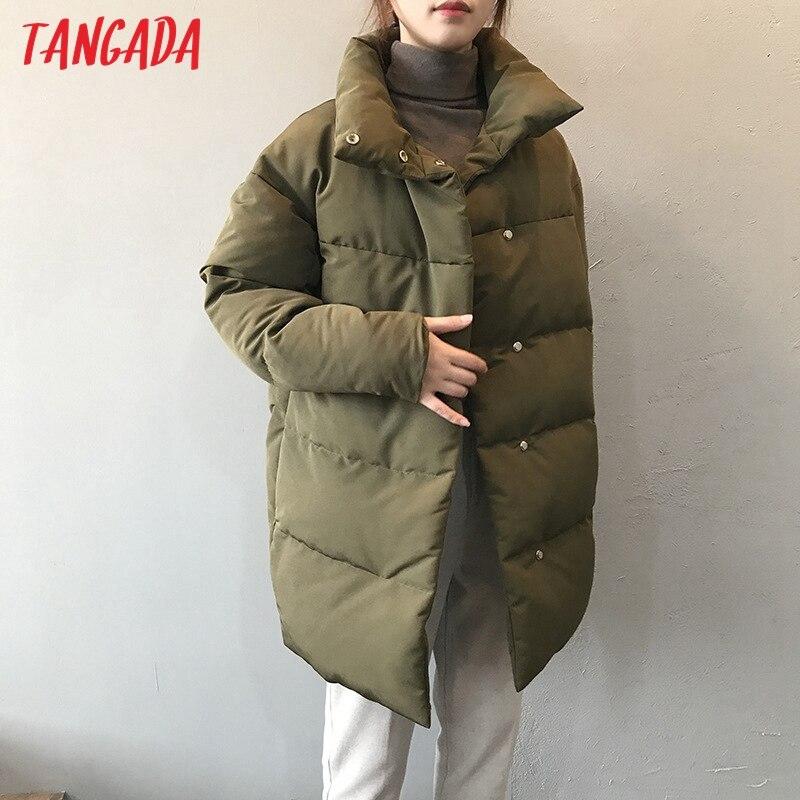 Tangada Women Amy Green Oversize Long Parkas Thick 2020 Winter Long Sleeve Buttons Pockets Female Warm Coat ASF73 Parkas  - AliExpress