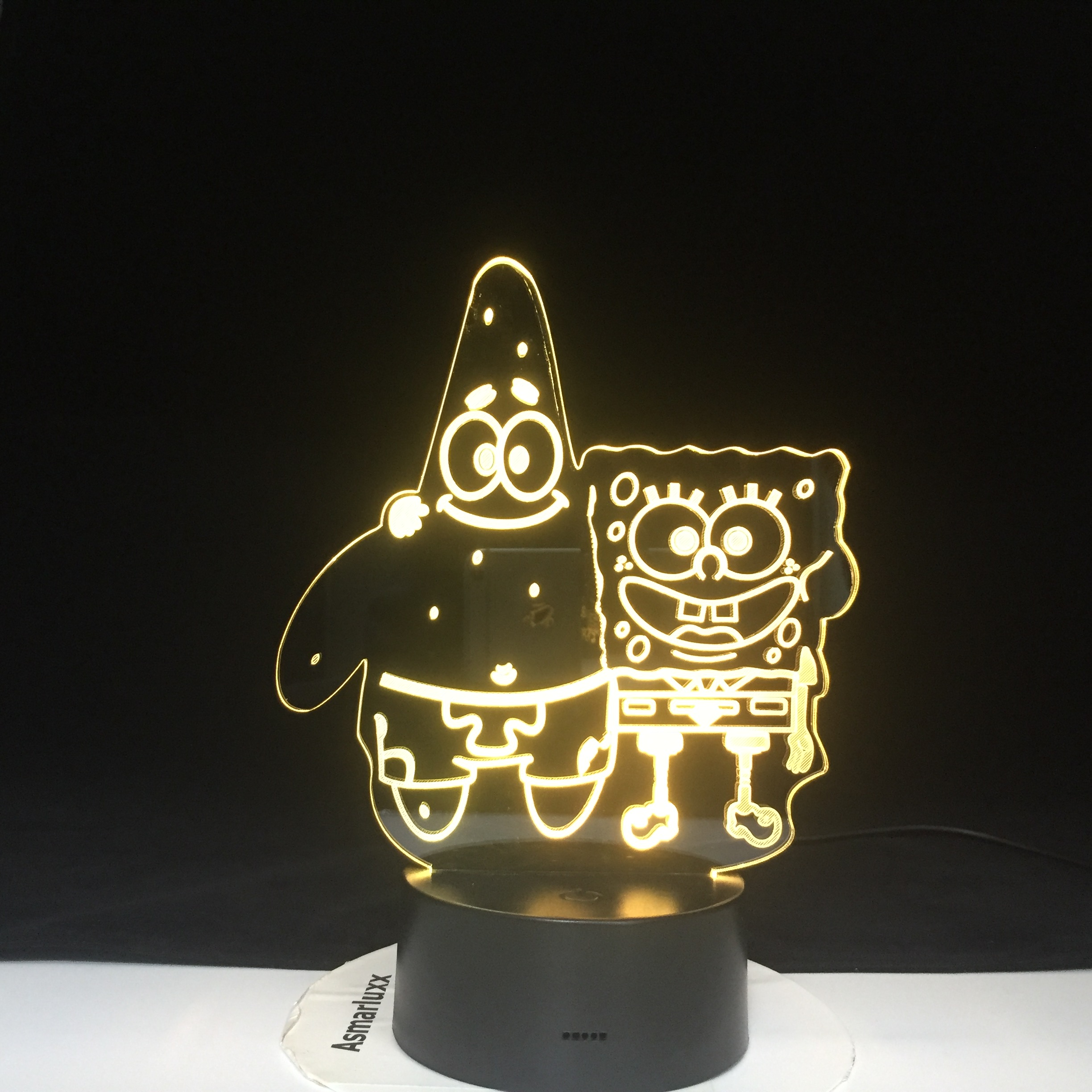 Spongebob Patrick Acrylic 7 Colors Desk Lamp 3D Lamp Novelty Led Night Light Square Pants LED Vision Stereo Lamp Kids  Baby Room