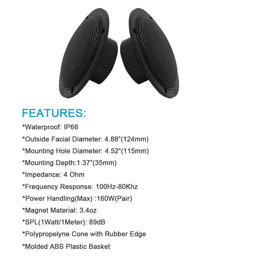 160W 4 Inch Waterproof Marine Bluetooth Speakers