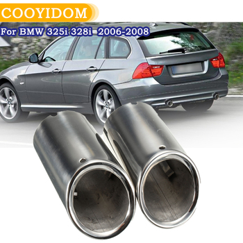 Pair Exhaust Muffler Stainless Steel For BMW E90 E92 325i 328i 3 Series 2006 2007 2008 2009 2010 Tail Pipe Chrome exhaust tip image