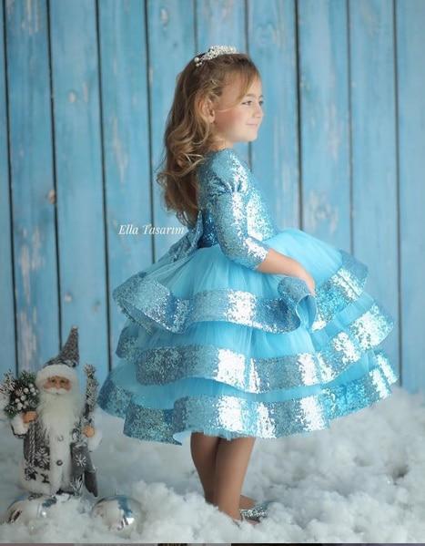 Sky Blue Kid First Birthday Dresses Long Sleeve Blue Girls Prom Dress  Celebration Dresses Sparkly Dresses With Sequin Custom