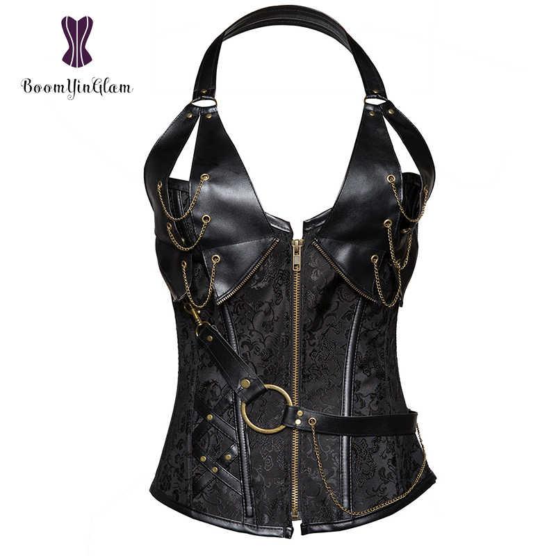 Mais tamanho frontal zíper feminino legal guerreiro design aço desossado brocado vintage steampunk halterneck bustiers corpetes 908 #