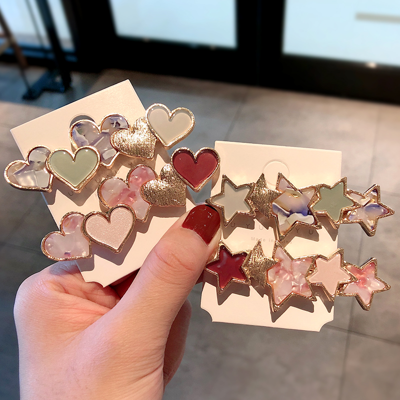 New Women Elegant Colorful Star Heart Alloy Barrettes Sweet Hair Ornament Headband Hair Clips Hairpins Fashion Hair Accessories