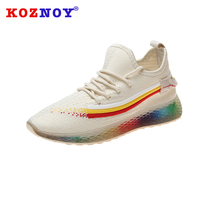 Koznoy Sneakers Dropshipping Women Thick Muffin Bottom Breathable Fashion Casual Lace Cross Tied Solid Flat Woman Shoes