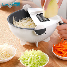 Multifunctional Vegetable Slicer Cutter Shredder Manual Mandoline Chopper Potato Carrot Cheese Grater 2 in 1 Draining Basket