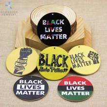 SOMESOOR nero vive materia potenti parole stampati 6cm grandi anelli ciondolo in legno naturale ciondola la collana adatta per i regali delle donne