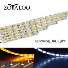1 paar Fließende DRL Führung Led-streifen Tagfahrlicht Scheinwerfer Läufer Ecke Blinker Wasserdicht Sequentielle Lampe