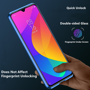Image 5 - Double Tempered Glass Protective Case For Xiaomi Mi A3 10 9 Lite CC9 Mi9T Pro Metal Magnet 360 Full Transparent Glass Case Cover