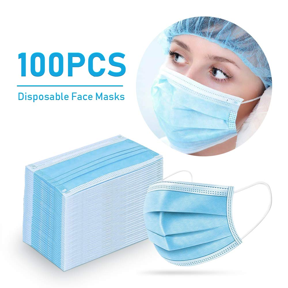 50/100 Pcs High Quality Non Woven Disposable Face Mask 3 Layers Anti-Dust Face Masks Ear Loop Mouth Safety Mask