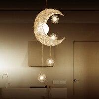 Moon LED star chandelier Bedroom Girl room Kids room Chandelier modern style decor pendant lamp G4 Children Lustres hanging