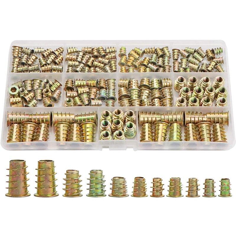 Резьбовые вставки гайки, набор инструментов с деревянной вставкой, M4/M5/M6/M8 мебельные винтовые вставки Болтовая застежка (165 шт)