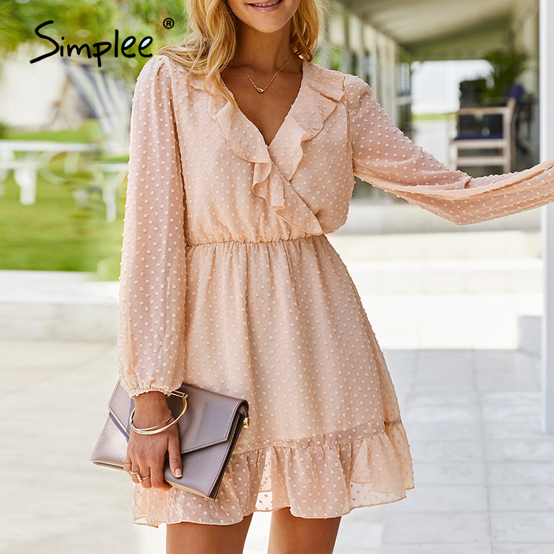 Simplee Elegant V-neck Floral Dot Women Dress Long Sleeve Ruffle Female Short Sundress Daily Fashion A Line Ladies Midi Dresses