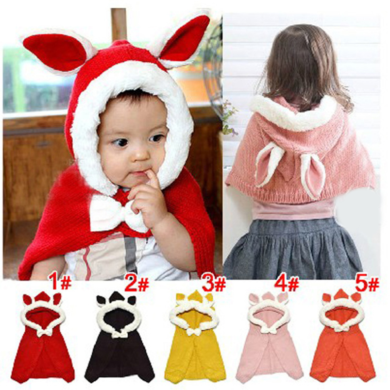 Hot new autumn kids baby cape bunny pattern tan/red  hooded plaid children Coat jackets baby girl cape cloaks winter outwear