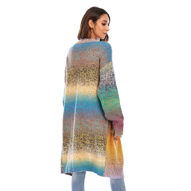 CGYY Women's Lightweight Rainbow Color Striped  Loose Causal  Long Sleeve Open Front Breathable Cardigans Sweater With Pockets 2