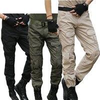 Calças táticas de carga militar calças dos homens na altura do joelho swat exército airsoft camuflagem roupas hunter campo combate calças floresta Calças de caça Esporte e Lazer -