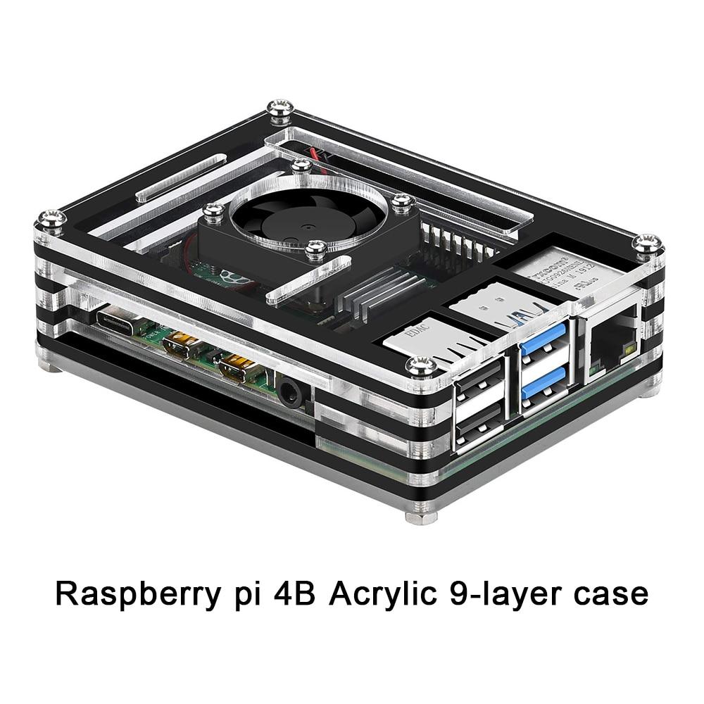 Funda Raspberry pi 4B, carcasa de 9 capas diseñada para Raspberry Pi 4 Modelo B