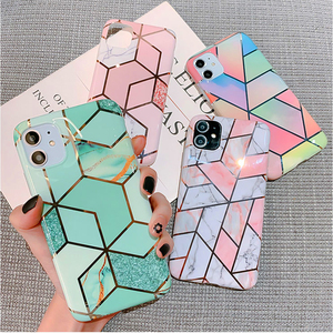 Luxury Marble Plating Case For iPhone 11 Pro Max X XR Xs Max Soft TPU Phone Case For iPhone 6 6s Plus 7 8 Plus IMD Back Cover(China)