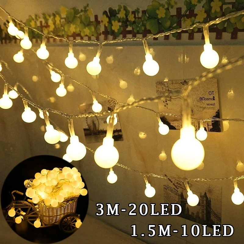 <font><b>1.5M</b></font> / 3M <font><b>LED</b></font> Ball Warm Fairy Light Strip Used for Wedding Party Garden Decoration <font><b>Led</b></font> Light Bulb image