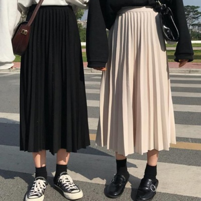 Solid Simple Pleated Casual Loose Ealstic High Waist College Wind 2020 Summer Spring New Women Female Skirts