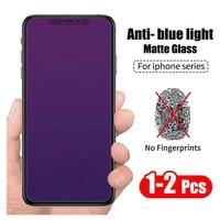 Protectores de pantalla antiluz azul mate para IPhone, vidrio templado esmerilado para IPhone 12 11 Pro Max 12 Mini XS XR X 6 S 7 8 Plus