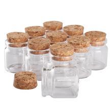 """24 יחידות 37*40*27 מ""""מ 20 ml מיני צנצנות זכוכית בברכת בקבוקים זעירים עם קורק פקק מתנה לחתונה"""