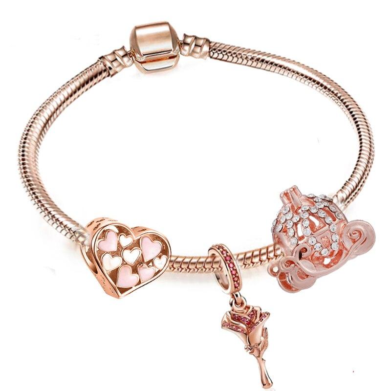 BRACE CO European Heart-shaped Pendant Charm Bracelet Fit Women's Jewellery Snake Chain Rose Gold Metal Fashion Fine Bracelets 5
