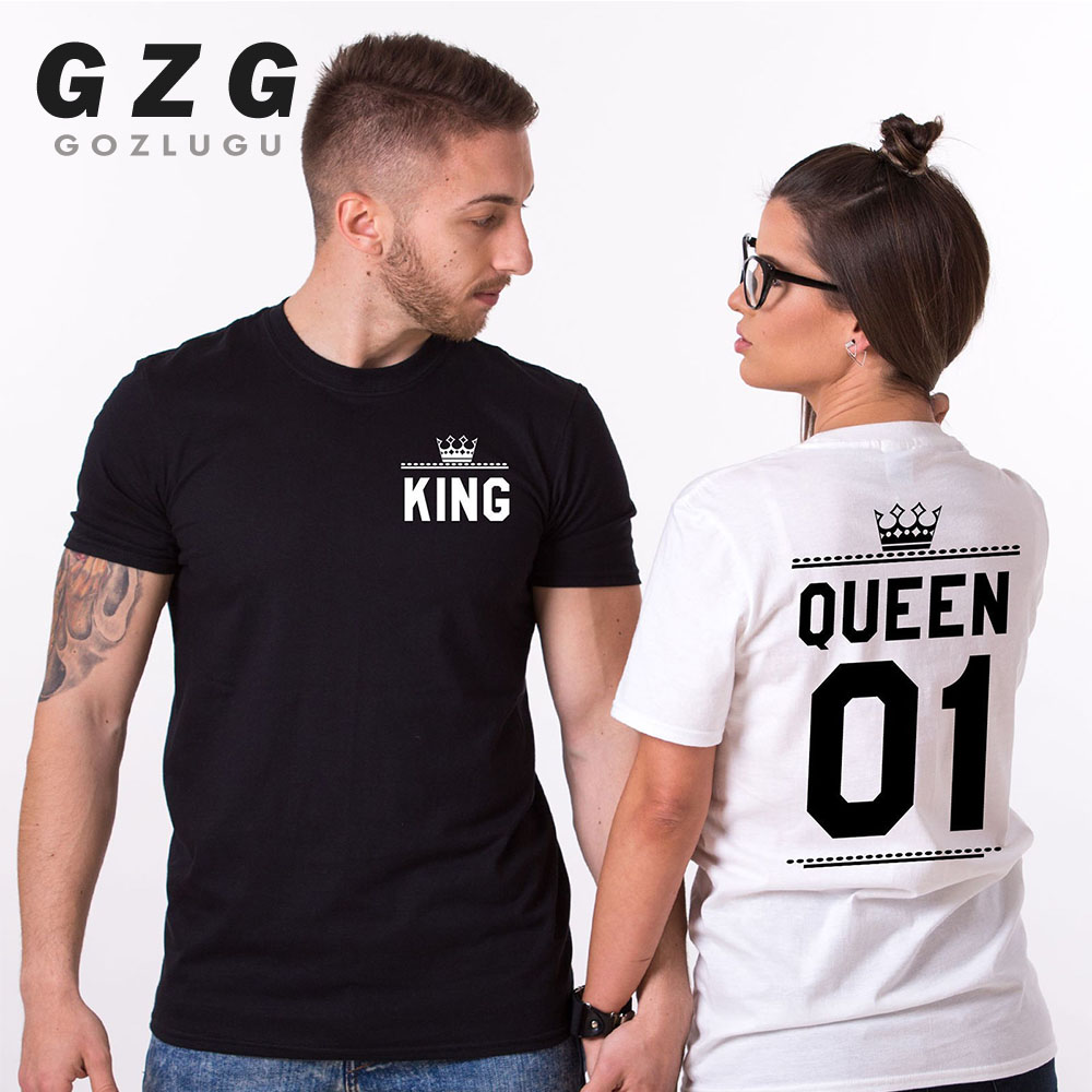 Fashion Summer Couple Clothes King Queen Letter Printing Women Men T Shirt Funny Matching Lovers Short Sleeve Tees Top