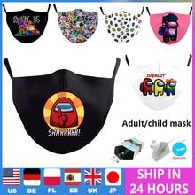Entre nós impressão criança máscara boca respirável protetor engraçado máscaras faciais muffle adulto crianças pm2.5 lavável tecido reutilizável máscara