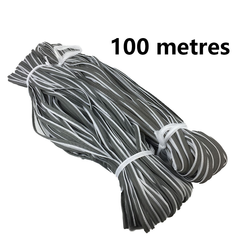 100 Meters Reflective Fabric Piping Webbing Ribbon With White Edge Braid Trim Tape For Sewn On Clothing, Bags ,shoes