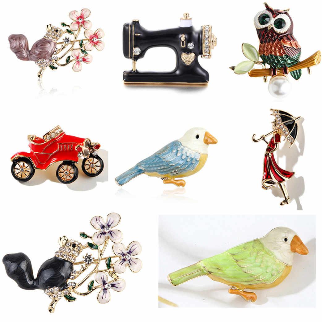 الموضة اليدوية لطيف الطيور الببغاء دبوس دبابيس للنساء المينا دبوس الكريستال الحيوان الطفل الطيور بروش دبوس مجوهرات عيد الميلاد