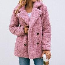 Women Plush Teddy Jackets 2019 Winter Warm Coat Buttons Single Breasted Coat Poc