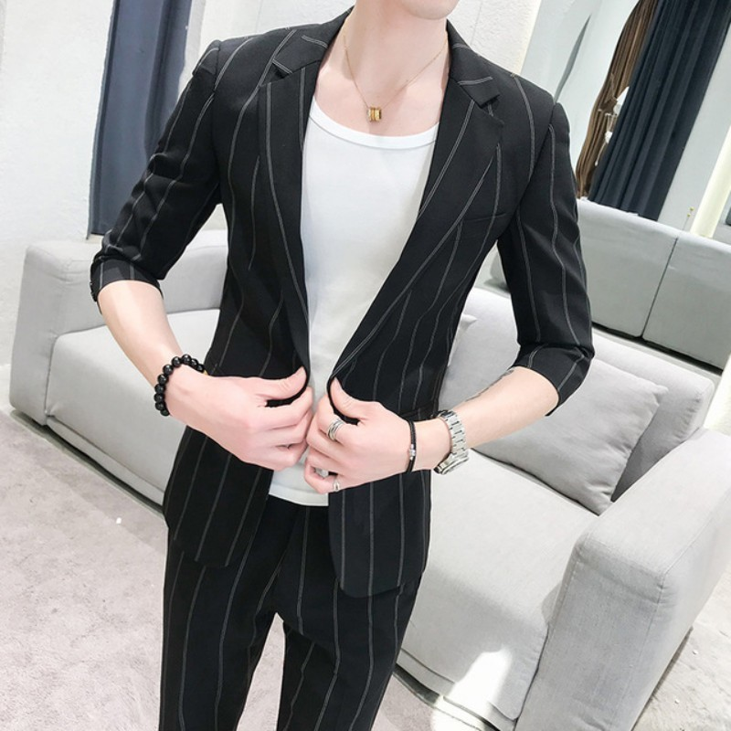 Men's Wear Summer 2020 New Men Half Sleeve Suit Stripe Two-piece Fashion Japanese Slim Wedding Party Suit Brand Latest Design