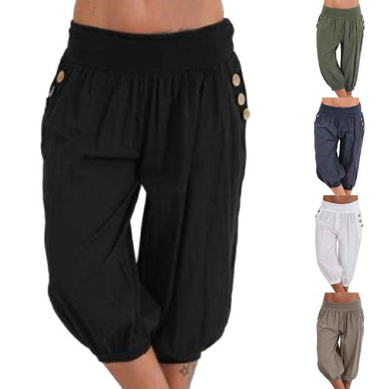 Women fashion Summer Solid Harem Pants Loose Knee Length Trousers Female Soft Elastic Waist Capris Long Pants Plus Size Mujer