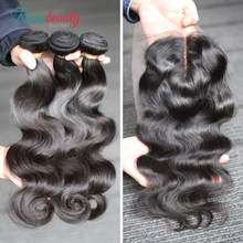 Rosabeauty 30 32 34 36 38 40 Deep Wave Peruvian Human Hair Bundles With Closure 3 4 Bundles Kinky Curly Water Wave With Frontal(China)