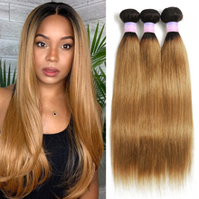 Brazilian Straight Human Hair Bundles Ombre Brown 1B 27 Colored Human Hair Weave Bundles For Women Remy Hair 1/3/4 Bundle Deals
