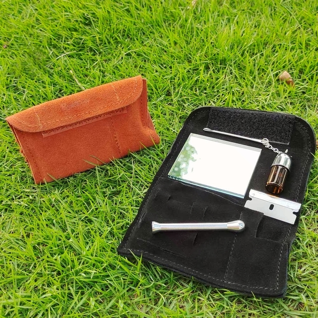 HONEYPUFF  Smoking Snuff Set Kit 100% Leather Tobacco Pouch + Sniffer Bullet Snorter Snuff Tool Straw Hooter Hoover Smoke Pipe