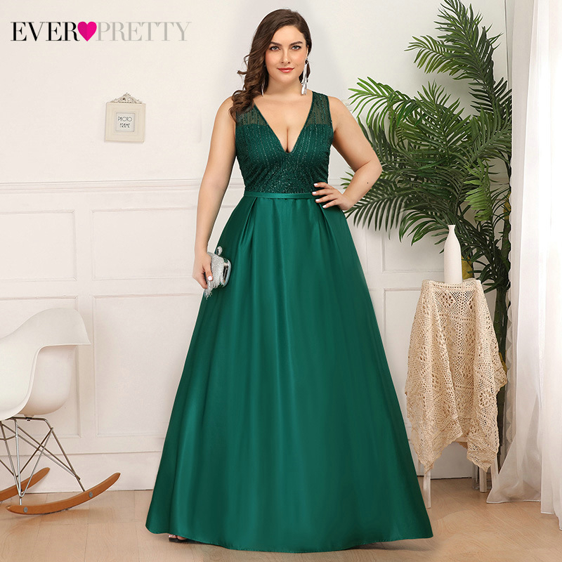 Plus Size Christamas Prom Dresses Ever Pretty EP00839 V-Neck Sequined Ruched Elegant Holiday Party Dress For Girls Gala Jurken