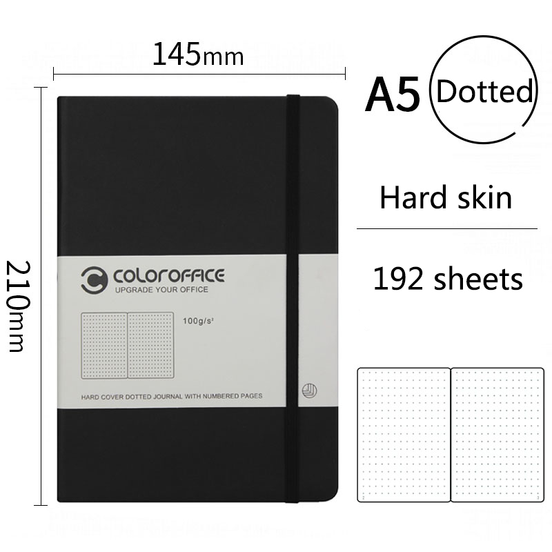 A5 High-quality Bullet Journal Dotted Notebook Hard Copy Line Grid Dots Agenda Bandage Diary Customized Notepad 192 Sheets Gift