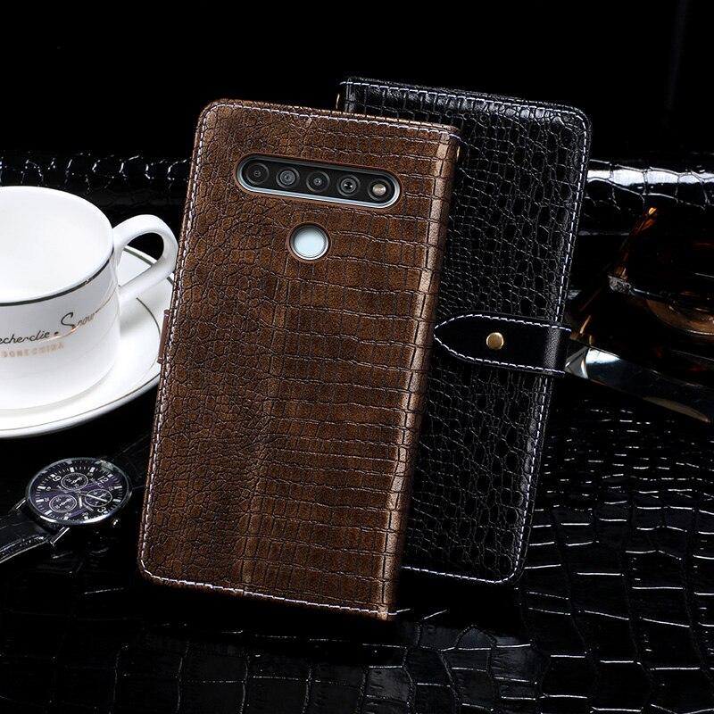 Case For LG K61 Case Cover Crocodile Grain Flip Leather Case For LG K61 Cover Business Phone Case