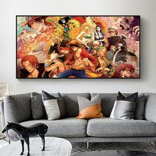 Japanese Classic Anime One Piece Oil Canvas Paintings Cartoon Wall Art Posters and Prints for Bedroom Home Decoration