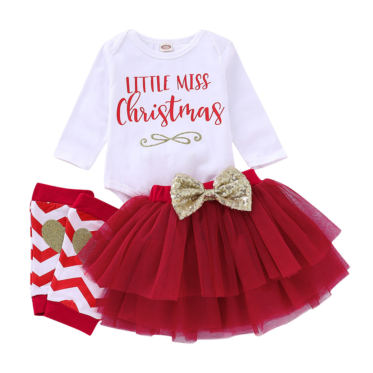 Baby Christmas Outfits My First Girl Clothes Set 3Pcs Letter Bodysuit+Layering Skirt+Knee Pads D35