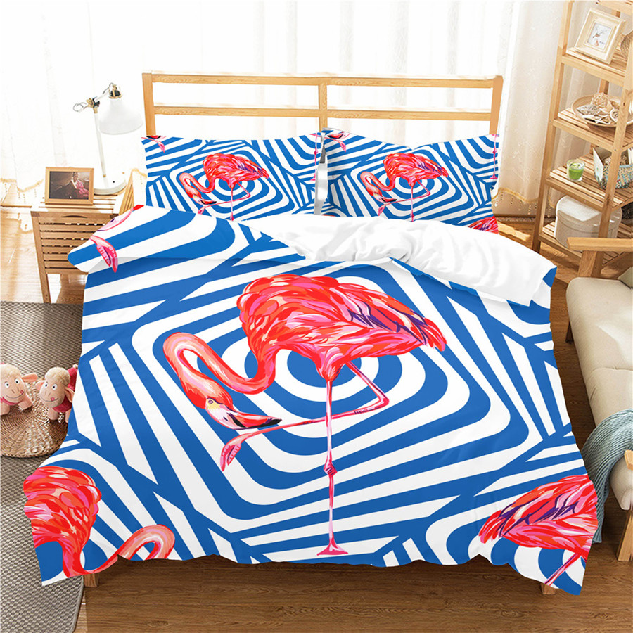 A Bedding Set 3D Printed Duvet Cover Bed Set Flamingo Home Textiles For Adults Bedclothes With Pillowcase #HLN20