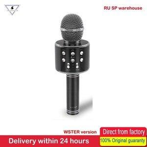 Image 2 - 100% Original WSTER WS858 Bluetooth Wireless Karaoke Microphone MUSIC Speaker Magic Sound Handheld Sing KTV Mic For Smart Phone