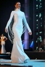 High Quality Prom Dress Long Sleeves Neck Pearls Backless Mermaid Evening Luxury Arabic Muslim Dresses