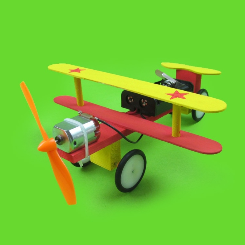 DIY Model Aircraft Car Electric Glider Wood Plane Car Technology Invention Student Experiment Manual Material Model Toy