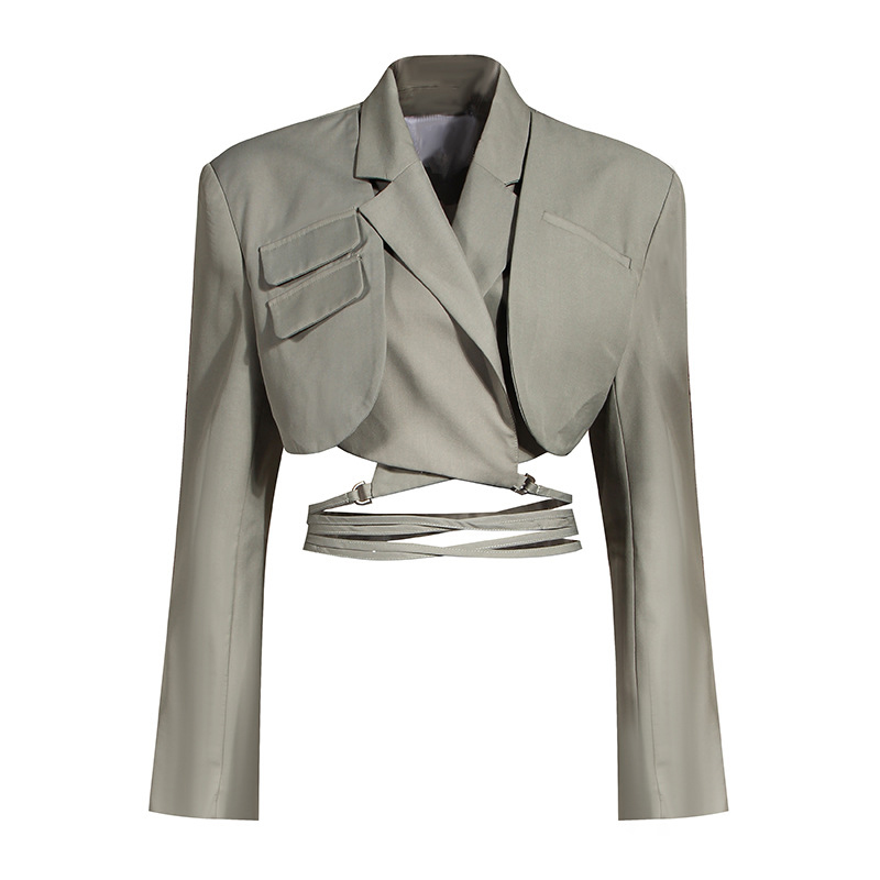 [EAM]  Half-body Skirt Gray Pleated Irregular Two Pieces Suit New Lapel Long Sleeve Loose Women Fashion Spring Autumn 2021 1X728