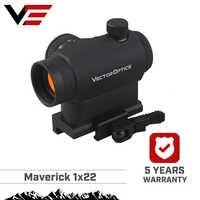 Ótica do vetor maverick ar15 m4 1x22 tactical red dot scope vista com 20mm liberação rápida alta riser picatinny base de montagem