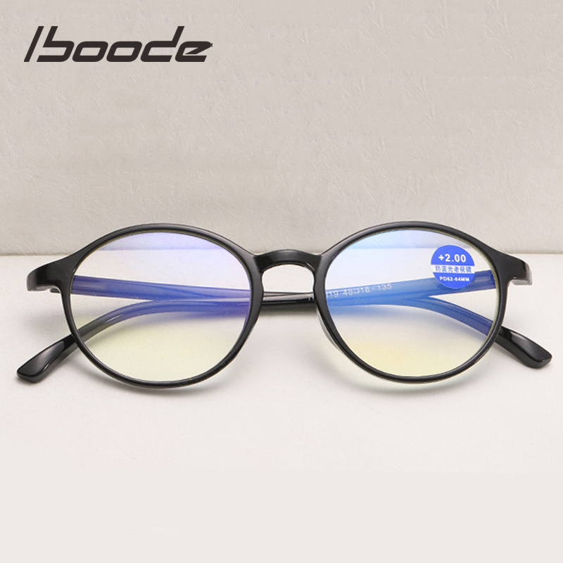 Iboode Anti Blue Light Ray Reading Glasses Computer Glasses Women Men Ultralight TR90 Round Presbyopia Eyewear Diopter +1.0~4.0