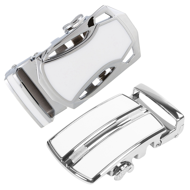 ABDB-Men'S Solid Buckle Automatic Ratchet Leather Belt Buckle Silver , Hollow & In The Middle With An Edge