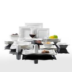 MALACASA Serie Mario 28 Stuk Porselein Diner Set met 6 Kom Dessert Soep Diner Plaat 2 Zout Shaker Set 2 rechthoekige Plaat